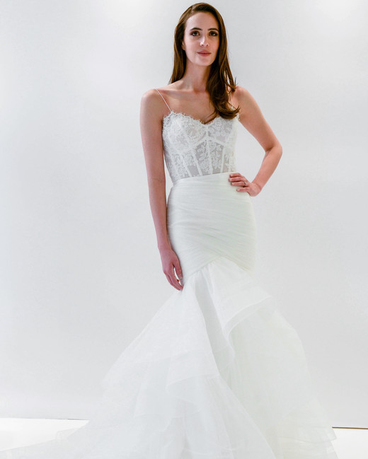 watters wtoo spaghetti strap mermaid ruffles wedding dress spring 2018