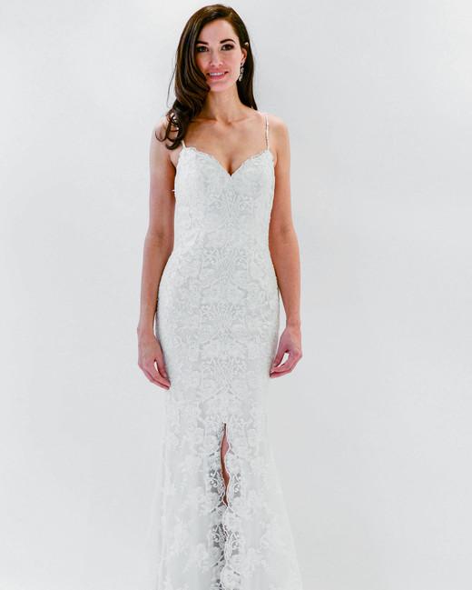watters wtoo spaghetti strap lace slit wedding dress spring 2018