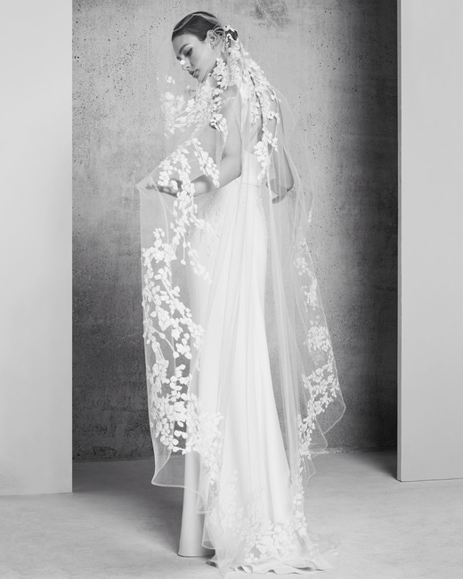sheath elie saab wedding dress with sheer veil spring 2018