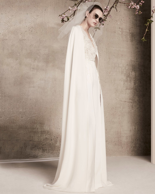 sheath with cape elie saab wedding dress spring 2018