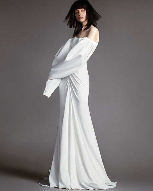 vera wang wedding dress spring 2018 off the shoulder long sleeve
