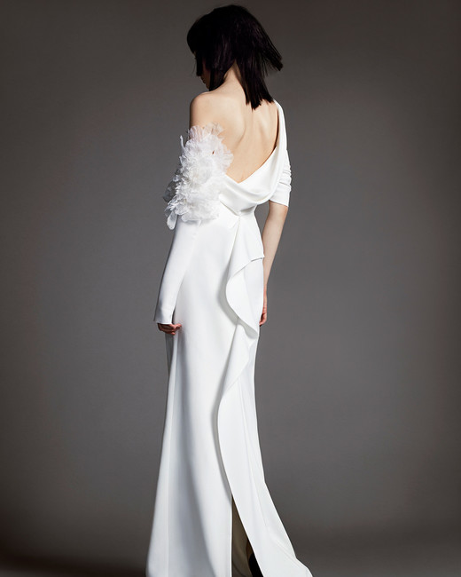 vera wang wedding dress spring 2018 draped back shoulder embellishment
