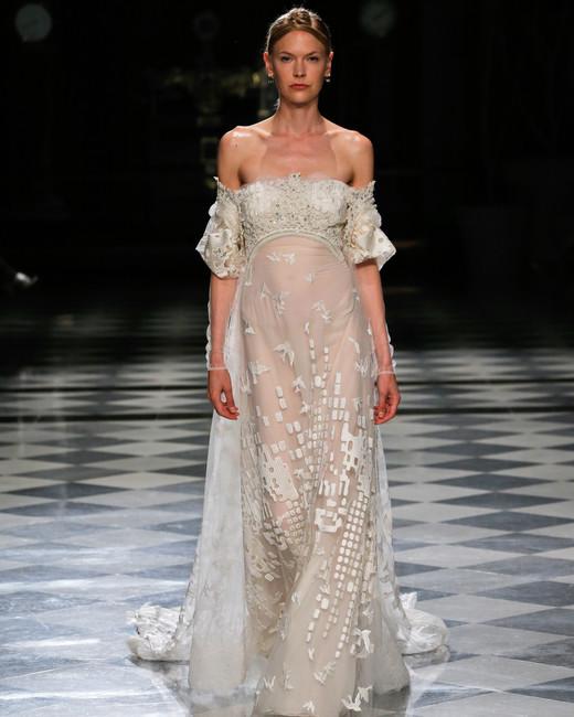 yolancris off the shoulder sheath wedding dress spring 2018