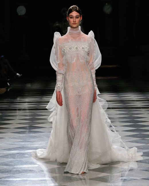 yolancris long sleeves sheer sparkly train wedding dress spring 2018