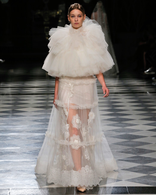 yolancris high neck ruff wedding dress spring 2018