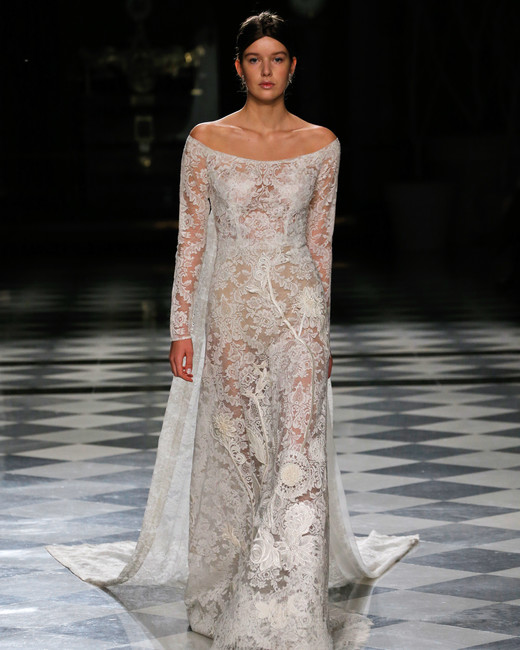 yolancris lace off the shoulder long sleeves wedding dress spring 2018