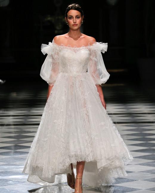 yolancris off the shoulder high-low wedding dress spring 2018