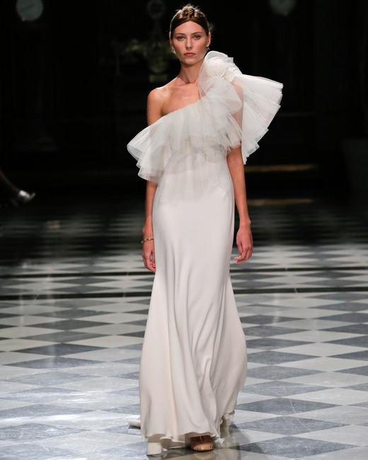 yolancris one shoulder ruffle sheath wedding dress spring 2018