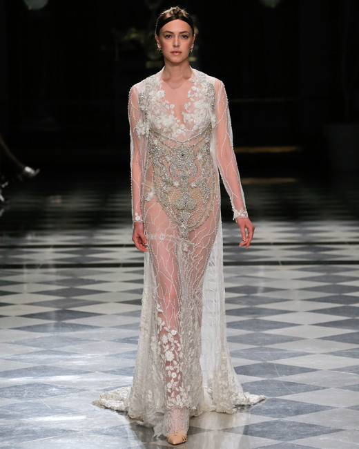 yolancris sheer beaded embellished long sleeves wedding dress spring 2018