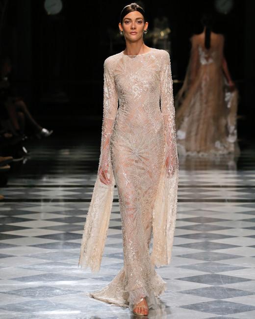 yolancris long sleeves beaded sheath wedding dress spring 2018