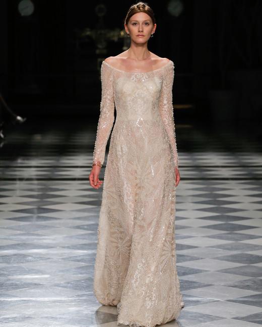yolancris sparkly off the shoulder a-line wedding dress spring 2018