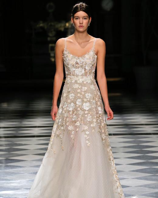 yolancris spaghetti strap flower embellished a-line wedding dress spring 2018