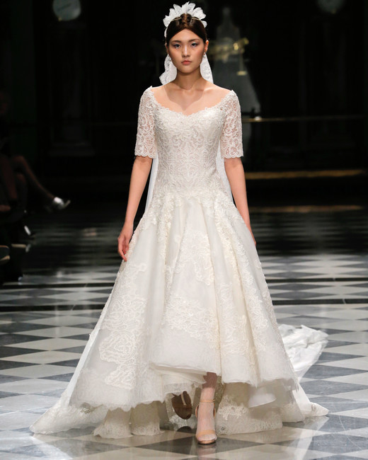 yolancris lace high low half sleeves wedding dress spring 2018