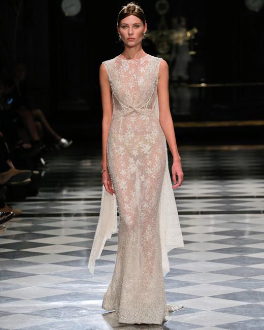 yolancris high neck sheer sheath wedding dress spring 2018