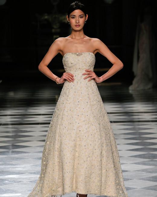 yolancris sparkly strapless color wedding dress spring 2018