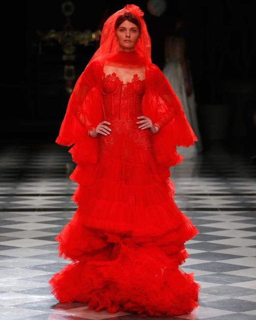 yolancris red ruffles lace color wedding dress spring 2018