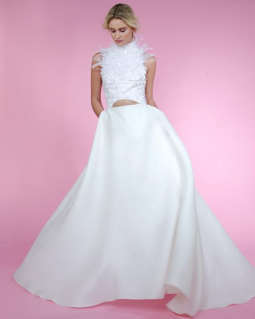 angel sanchez feathered top spring 2018 wedding dress