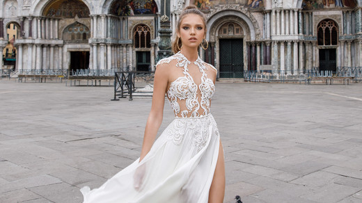 high neck sheath julie vino wedding dress spring2018