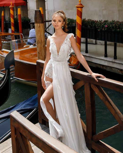 v-neck sheath julie vino wedding dress spring2018