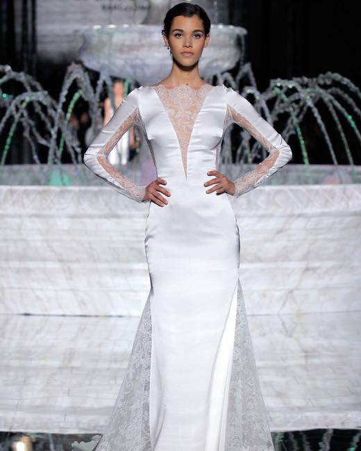pronovias long sleeves v-neck wedding dress spring 2018