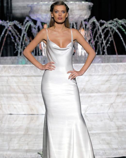 pronovias spaghetti strap wedding dress spring 2018