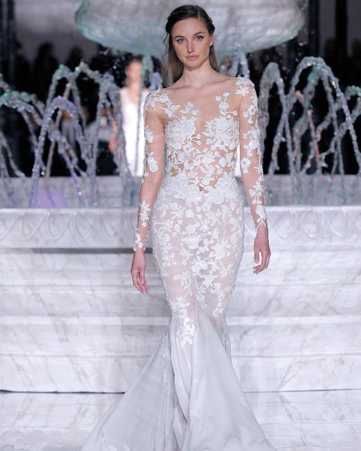 pronovias sheer trumpet wedding dress spring 2018
