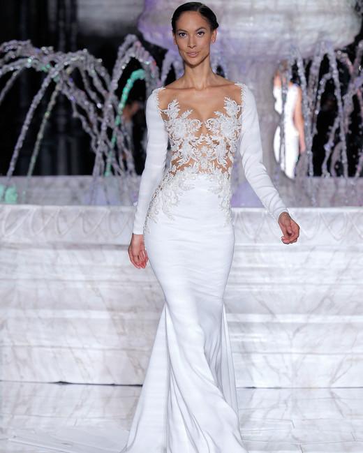 pronovias sheer top long sleeves wedding dress spring 2018