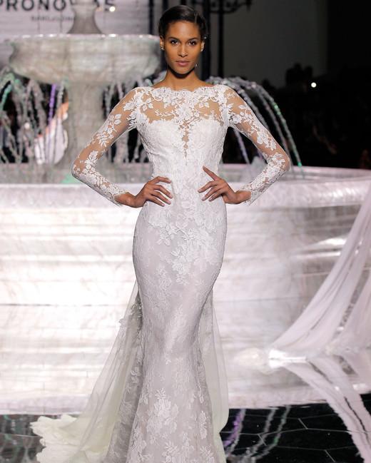 pronovias high neck long sleeves wedding dress spring 2018