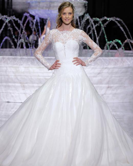 pronovias long sleeves a-line wedding dress spring 2018