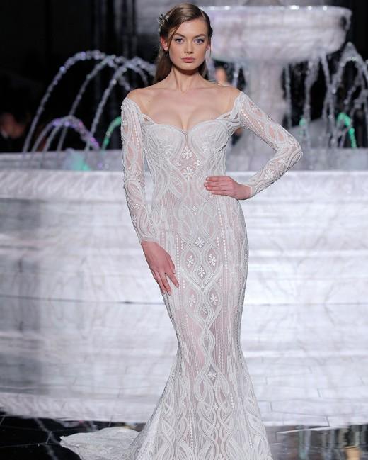 pronovias sheer off-the-shoulder wedding dress spring 2018
