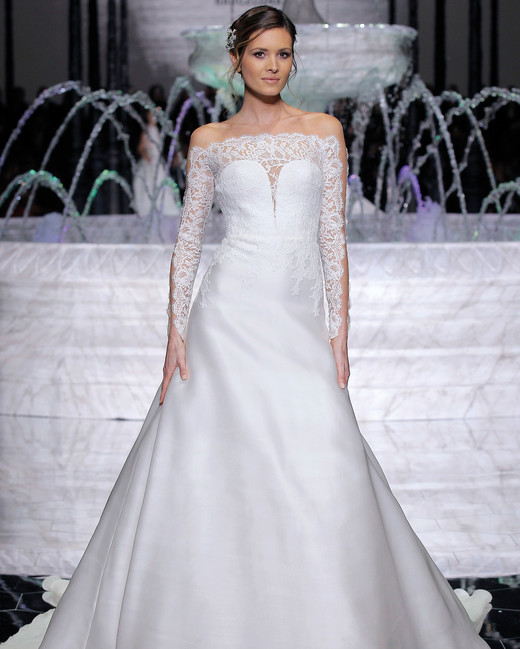 pronovias embellished long sleeves wedding dress spring 2018