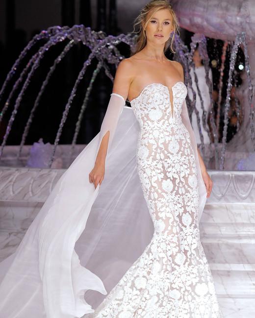 pronovias v-neck mermaid wedding dress spring 2018