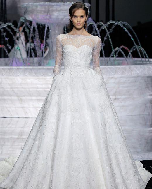 pronovias a-line long sleeves wedding dress spring 2018