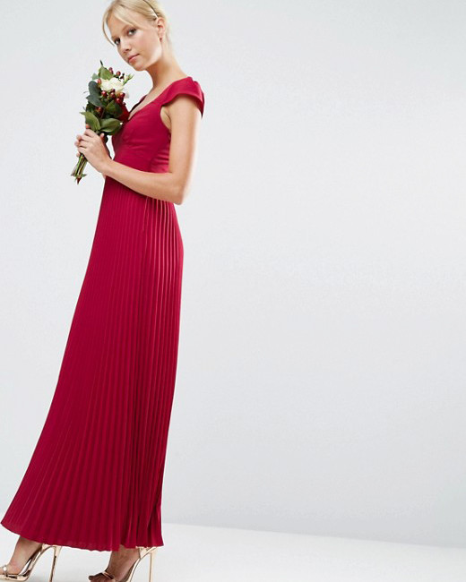 red bridesmaid dress asos lace pleat maxi