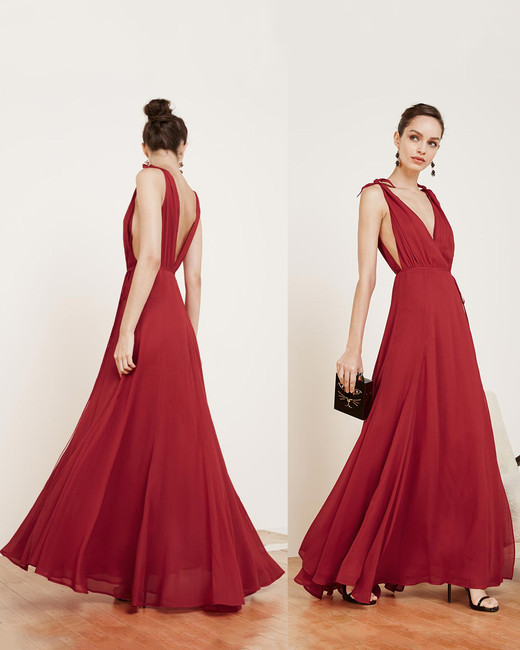 red bridesmaid dress reformation romanica