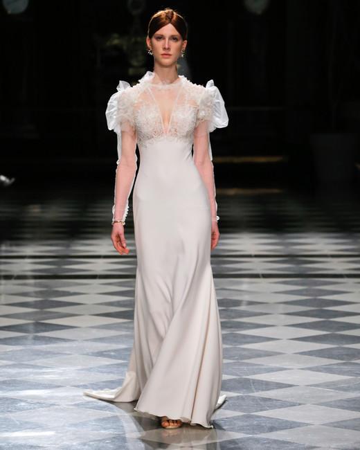 yolancris long sleeves sheath wedding dress spring 2018