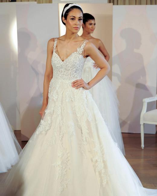 anne barge tulle v-neck wedding dress spring 2018
