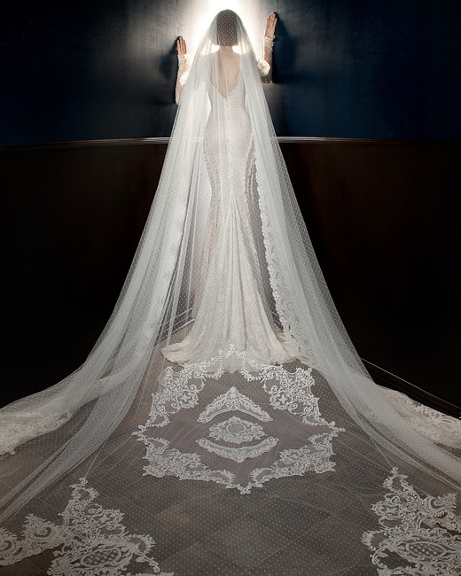 galia lahav wedding dress spring 2018 long sleeves mermaid veil back