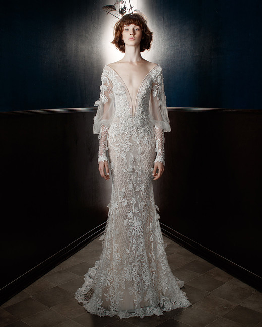 galia lahav wedding dress spring 2018 plunging v-neck long sleeves
