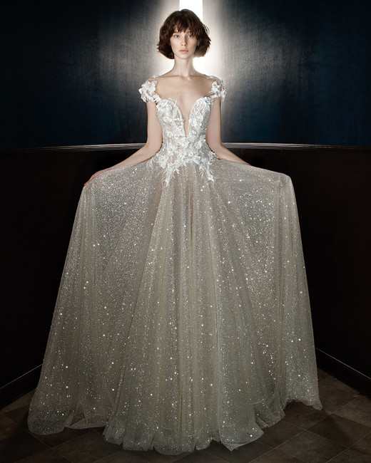 galia lahav wedding dress spring 2018 cap sleeve v-neck shimmer