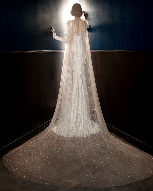 galia lahav wedding dress spring 2018 long sleeves veil shimmer