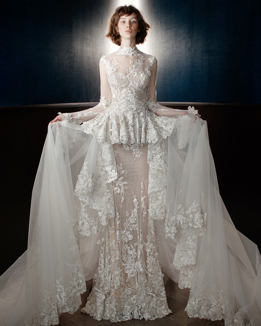 galia lahav wedding dress spring lace sheer tiered skirt