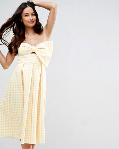 gingham bow front midi dress