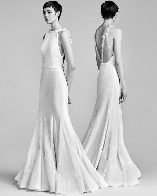 Viktor&Rolf Trumpet Wedding Dress with High Neck Spring 2018