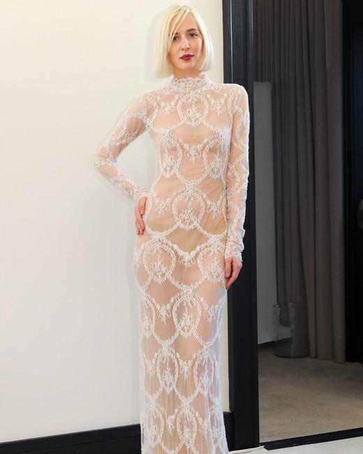 costarellos lace long sleeves sheer wedding dress spring 2018
