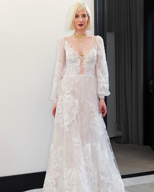 costarellos lace long sleeves v-neck wedding dress spring 2018