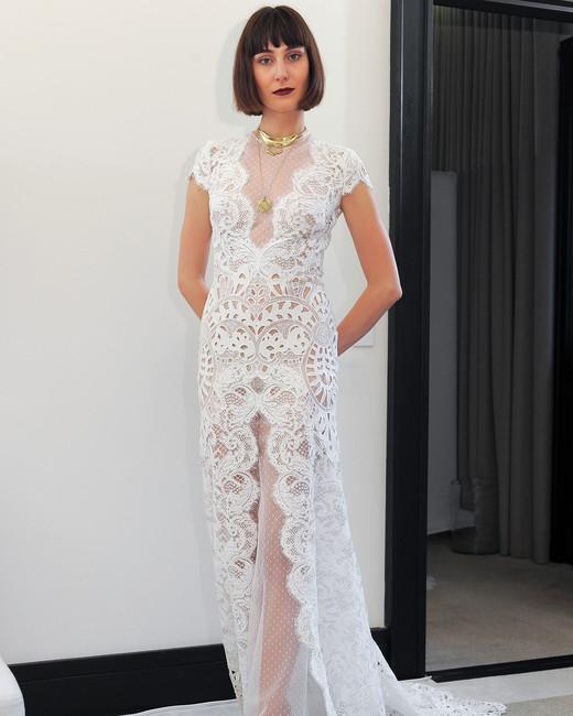 costarellos lace cap sleeves wedding dress spring 2018