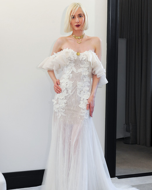 costarellos lace off the shoulder trumpet wedding dress spring 2018