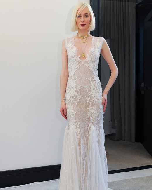 costarellos lace v-neck trumpet wedding dress spring 2018