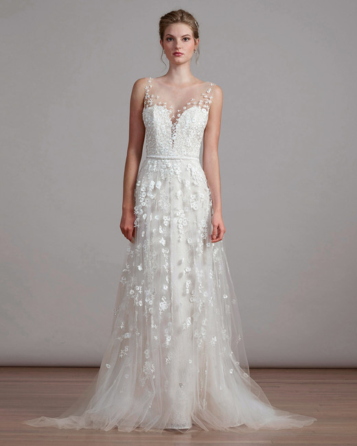 liancarlo lace wedding dress with illusion neckline
